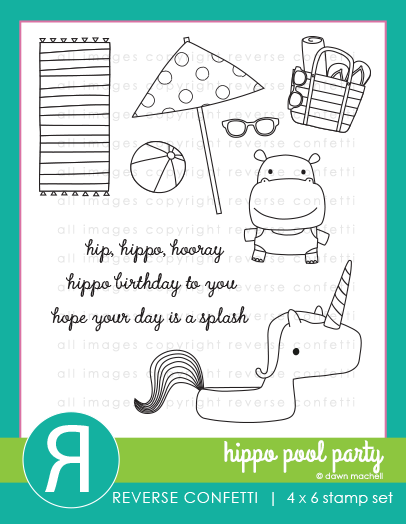 Reverse Confetti - Hippo Pool Party Stamp/Die Set
