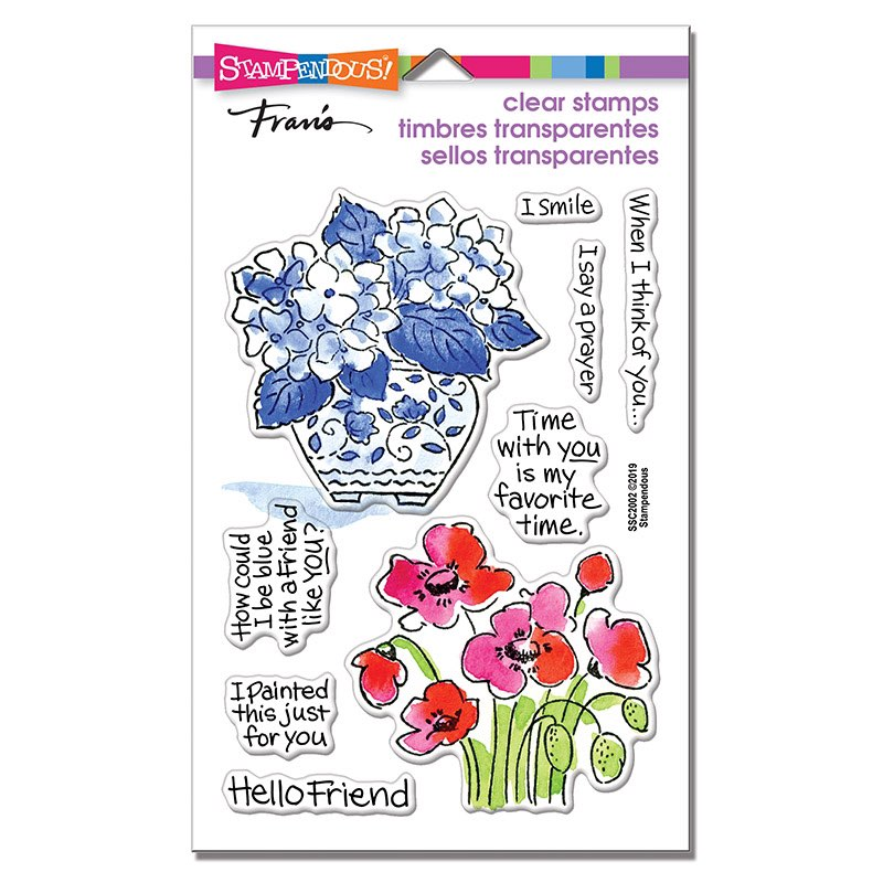 Stampendous - Blue Poppies Perfectly Clear Stamps Set