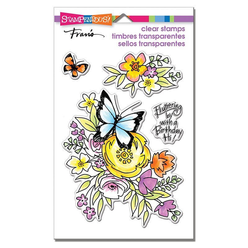 Stampendous - Flutters and Flowers Stamp Set
