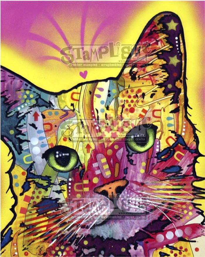 Stamplistic - Tilt Cat 1 Rubber Stamp