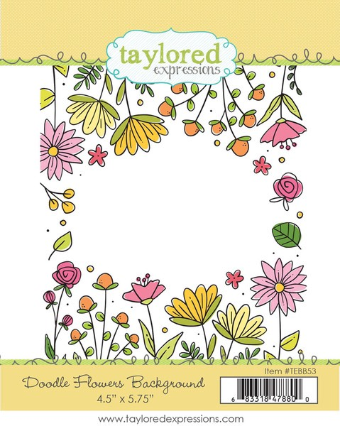 Taylored Expressions - Doodle Flowers Background Stamp