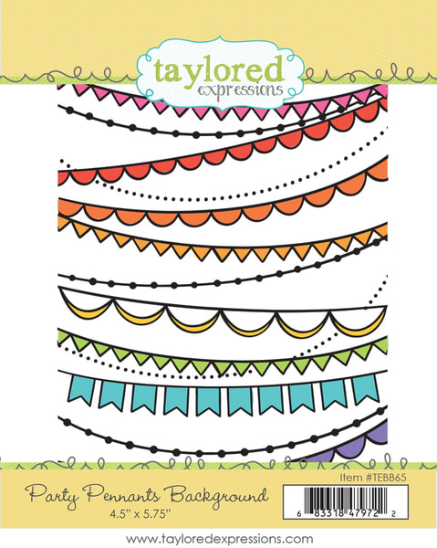 Taylored Expressions - Party Pennants Background Stamp