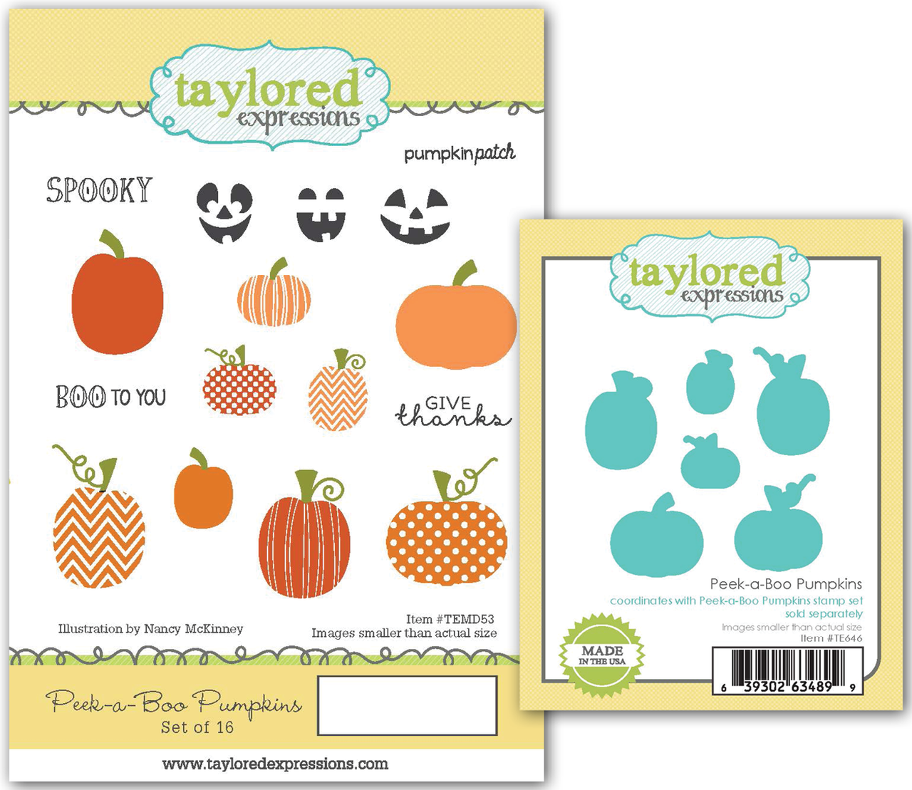 Taylored Expressions - Peek-a-Boo Pumpkins Stamp & Die Set
