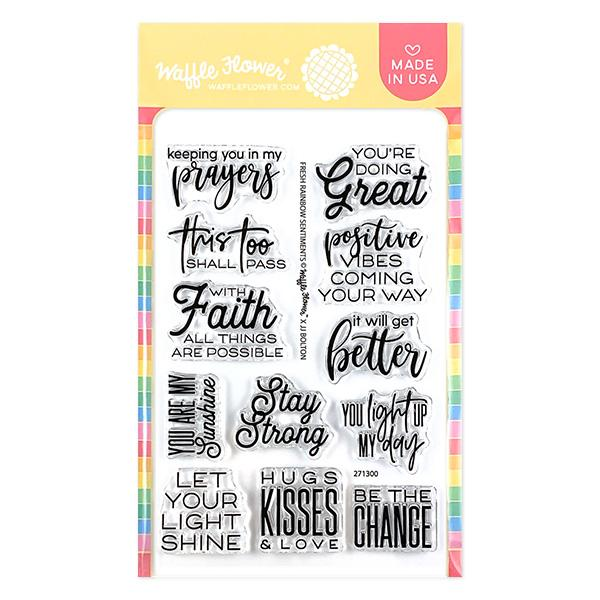 Waffle Flower - Fresh Rainbow Sentiments Stamp Set