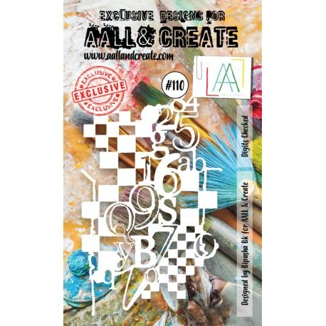 AALL and Create - Digits Checkered Stencil #110