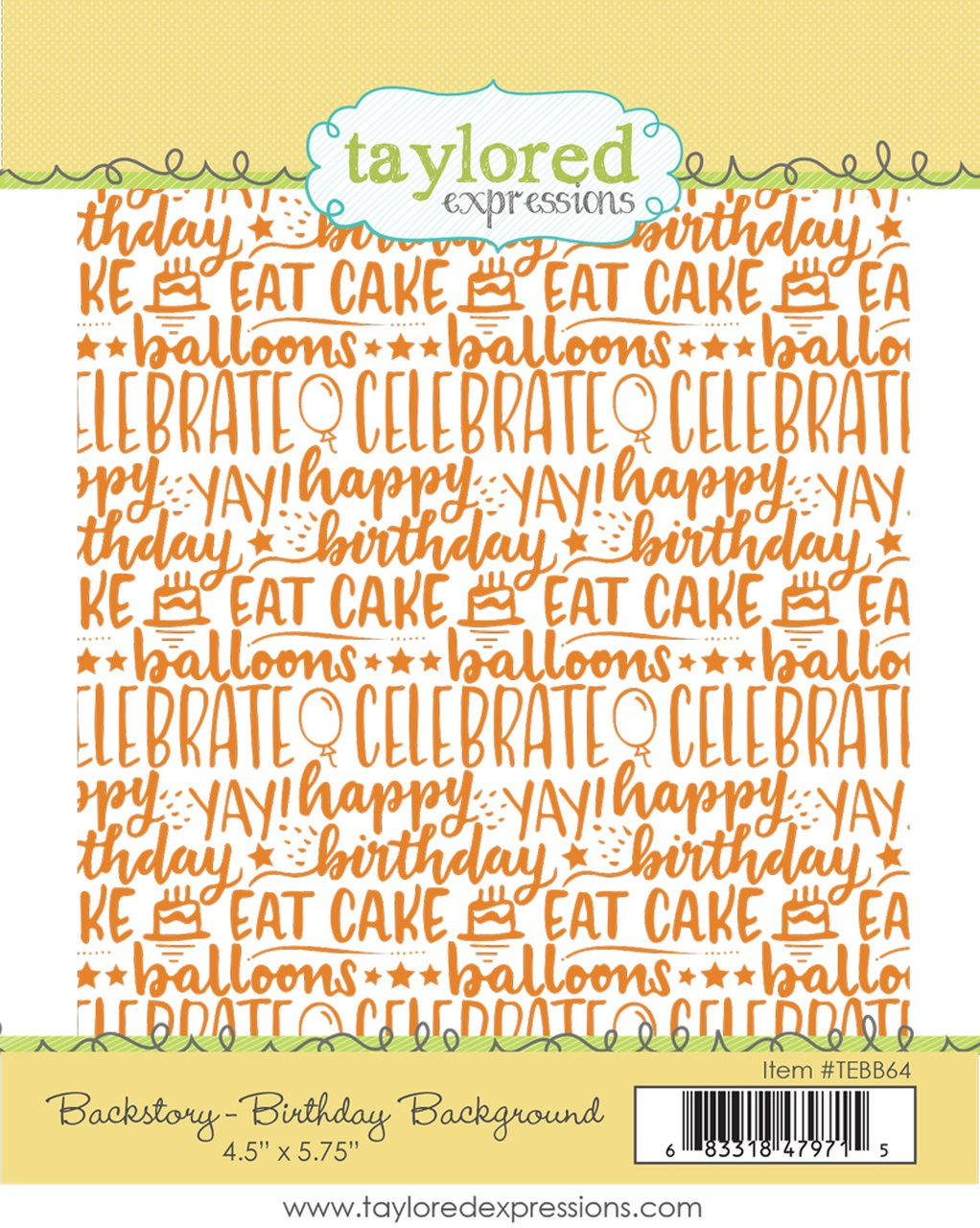 Taylored Expressions - Backstory: Birthday Background Stamp