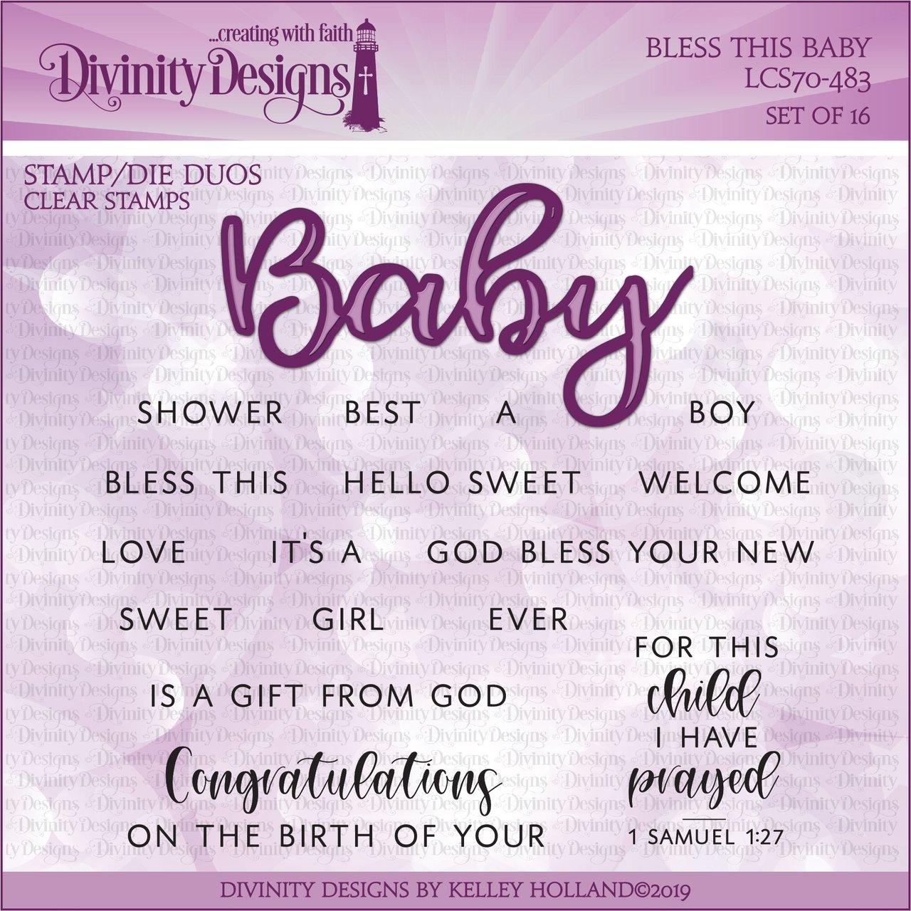Divinity Designs - Bless This Baby Stamp/Die Set