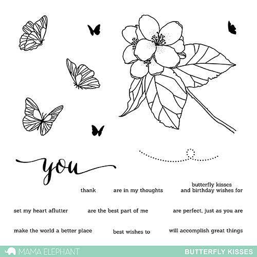 Mama Elephant - Butterfly Kisses Stamp Set