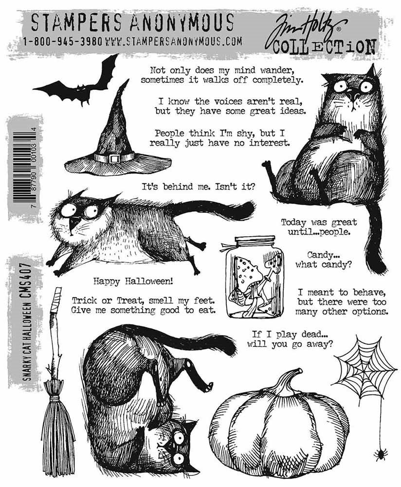 Stampers Anonymous - Tim Holtz Snarky Cat Halloween Stamp Set
