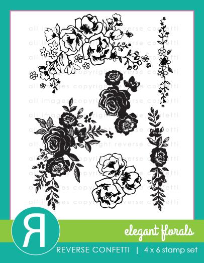 Reverse Confetti - Elegant Florals Stamp Set