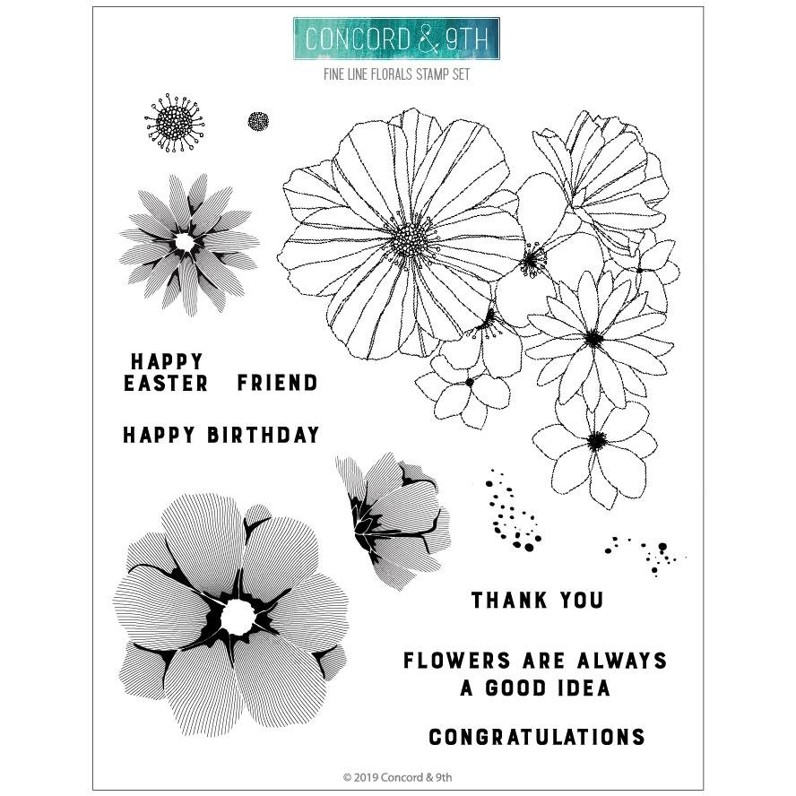 Concord & 9th - Fine Line Florals Stamp Set
