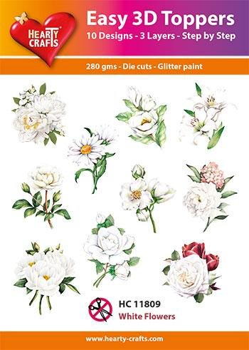 Hearty Crafts Easy 3D Toppers - White Flowers