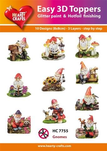 Hearty Crafts Easy 3D Toppers - Garden Gnomes