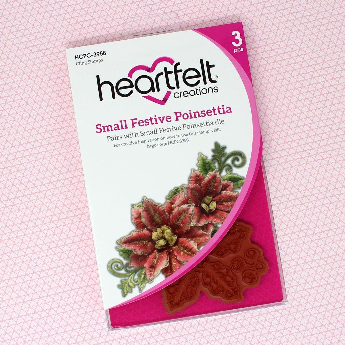 Heartfelt Creations - Small Festive Poinsettia Cling Stamp Set