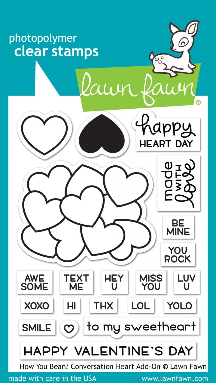 Lawn Fawn - How You Bean? Conversation Heart Add On Stamp Set