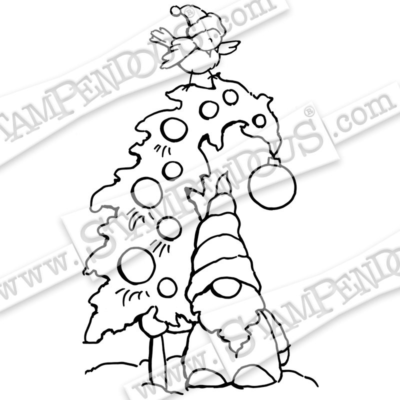 Stampendous - Gnome Tree Cling Stamp