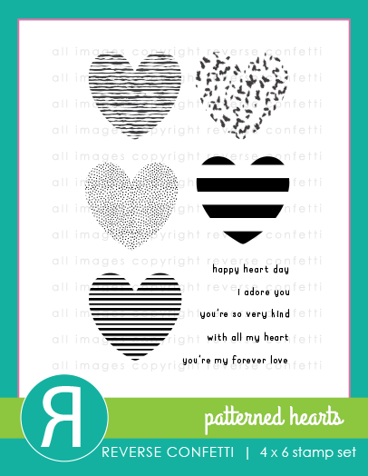 Reverse Confetti - Patterned Hearts Stamp Set