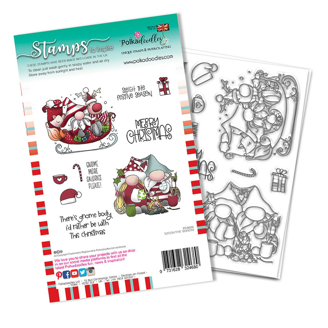 Polkadoodles - Sleigh the Season Christmas Holiday Stamp Set