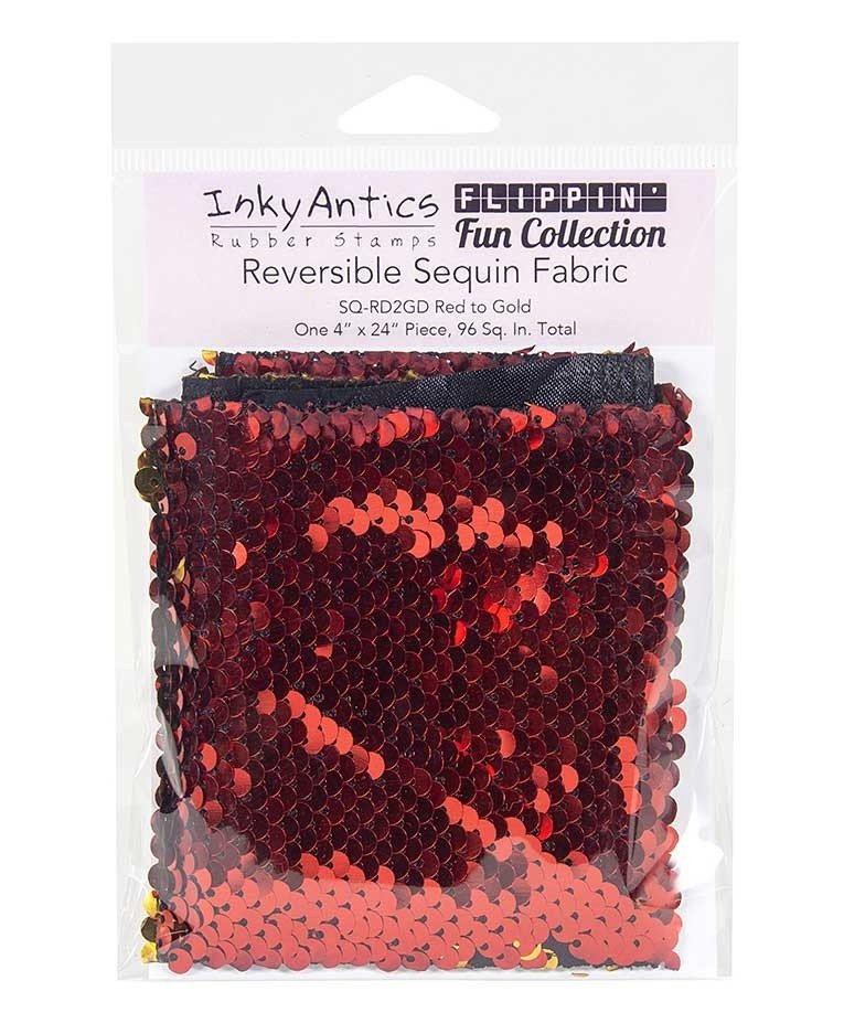 Inky Antics - Reversible Sequin Fabric - Red to Gold