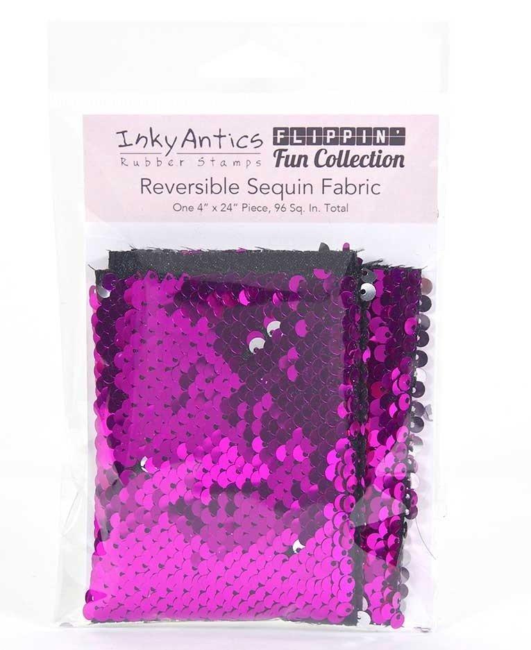 Inky Antics - Reversible Sequin Fabric: Fuchsia to Silver