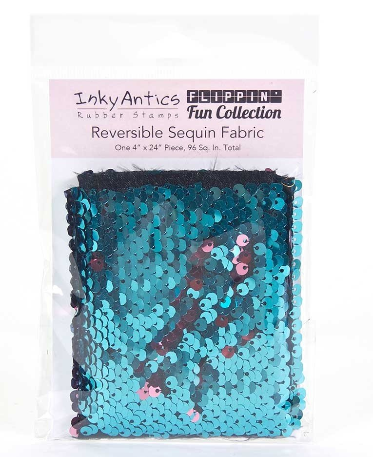 Inky Antics - Reversible Sequin Fabric: Turquoise to Rose Gold