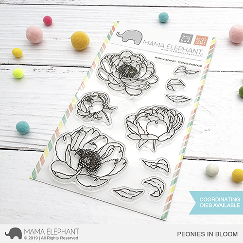 Mama Elephant - Peonies in Bloom Stamp Set