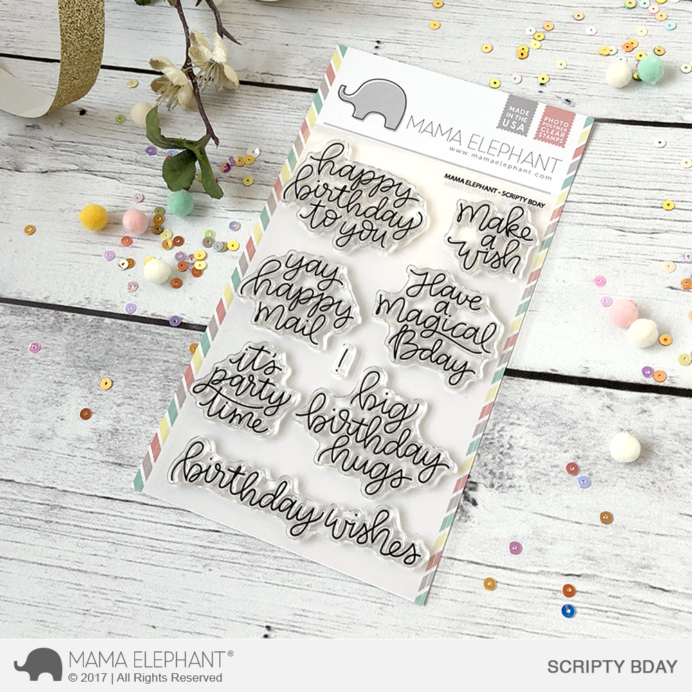 Mama Elephant - Scripty Bday Stamp Set