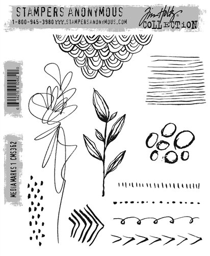 Stampers Anonymous - Tim Holtz Media Marks 1 Stamp Set