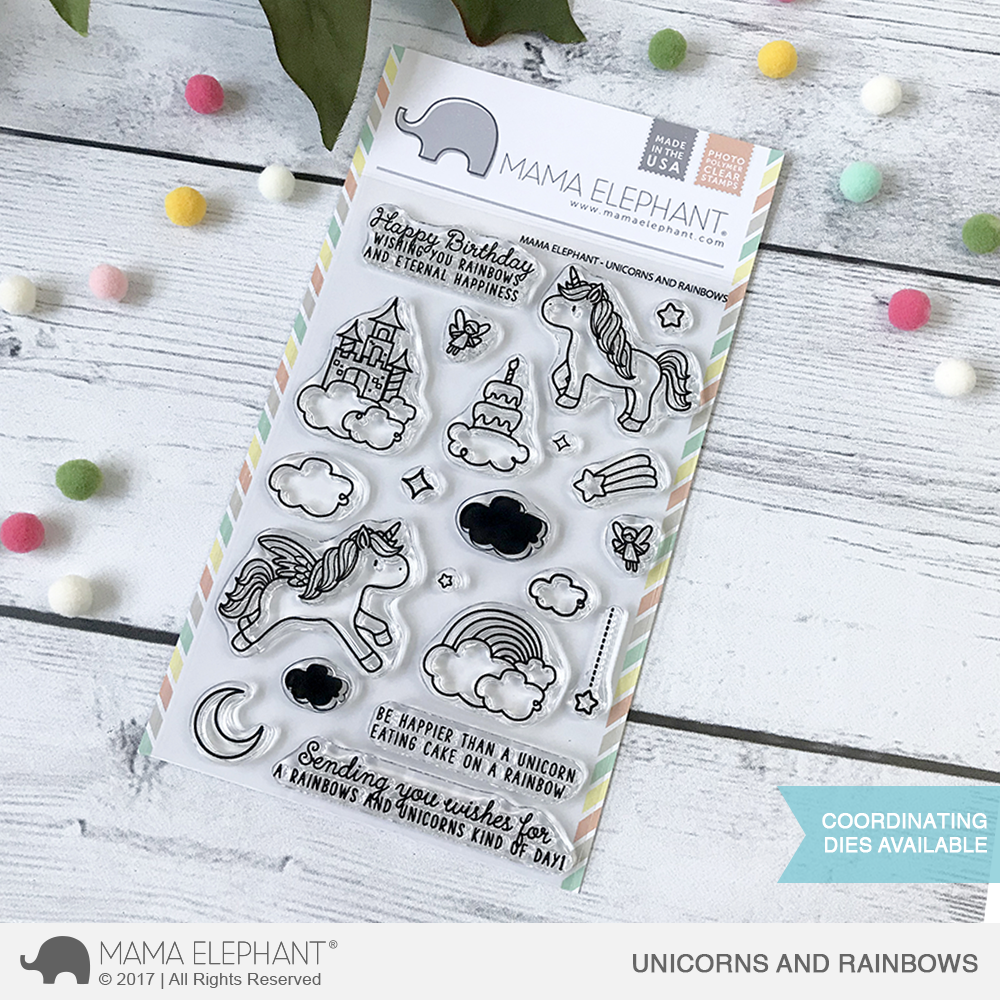 Mama Elephant - Unicorns and Rainbows Stamp Set