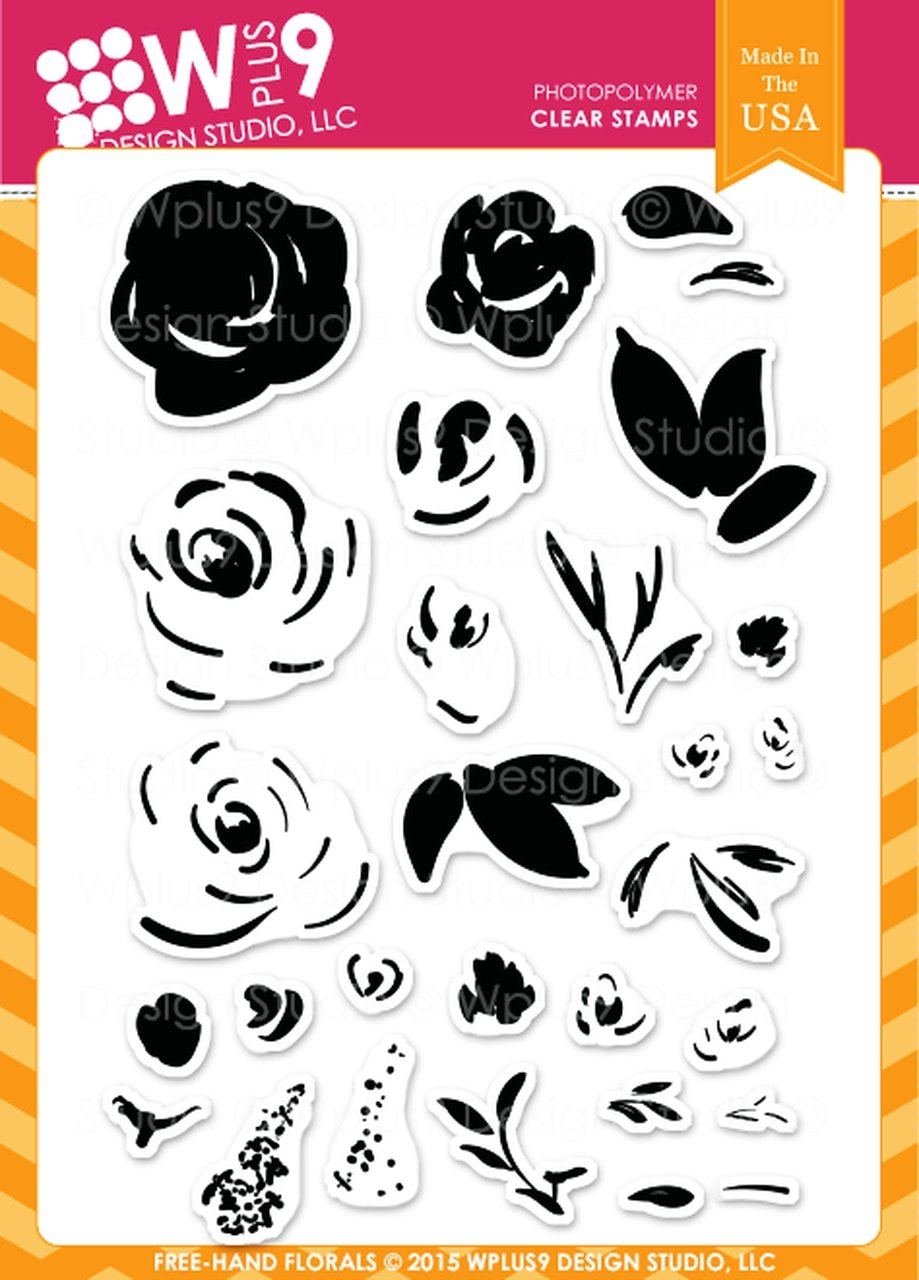 WPlus9 - Freehand Florals Coordinating Stamp & Die Set