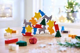 HABA Christmas Animal Upon Animal, A Wooden Stacking Game in Collector's Tin