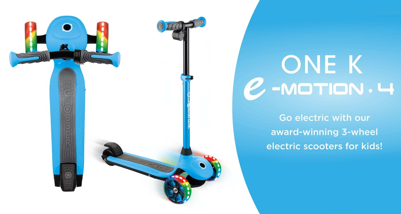 Globber ONE K E-MOTION 4 ELECTRIC SCOOTER 3 WHEELS Sky Blue