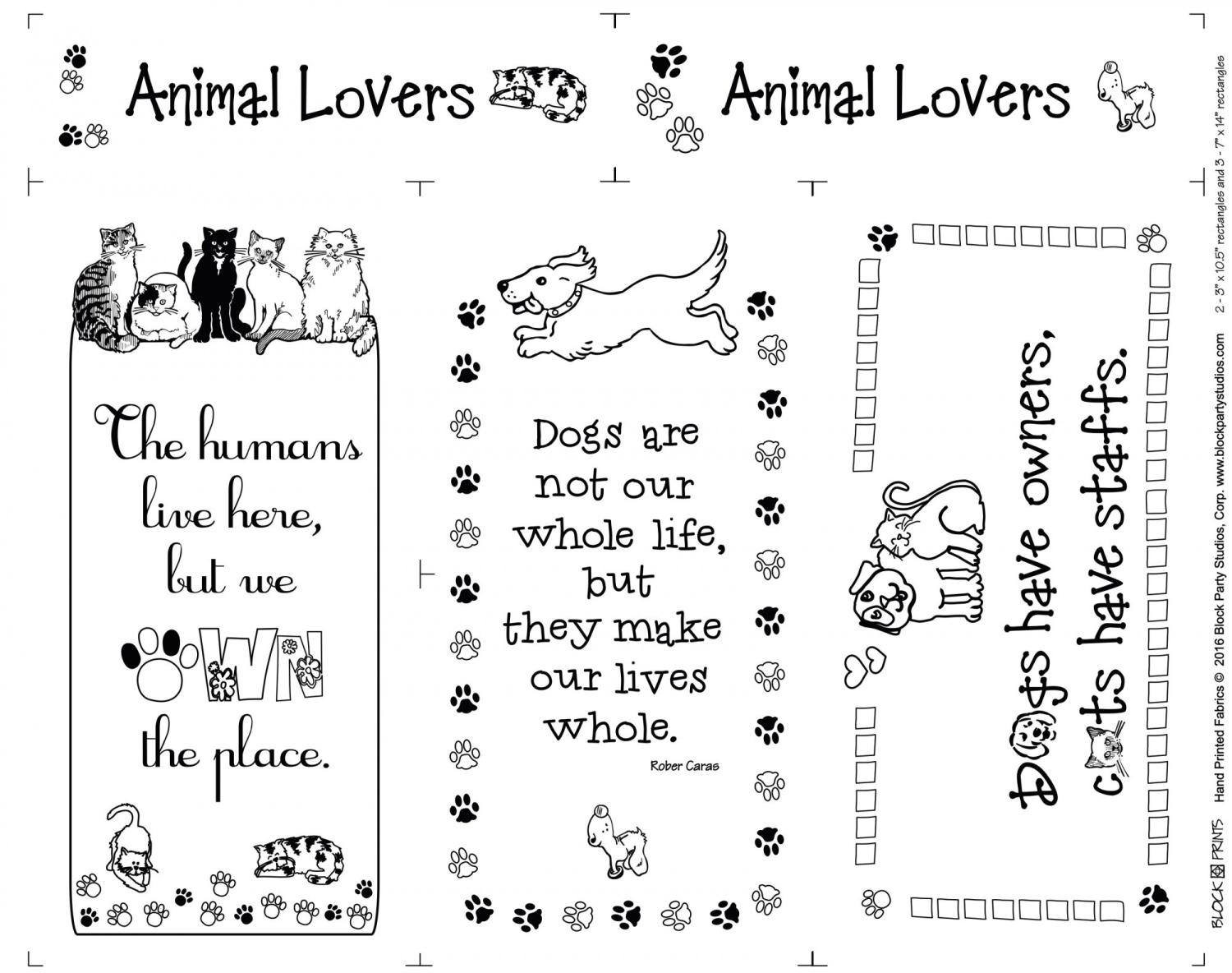 Animal Lover Panel white by Block Party Studios (715BW)