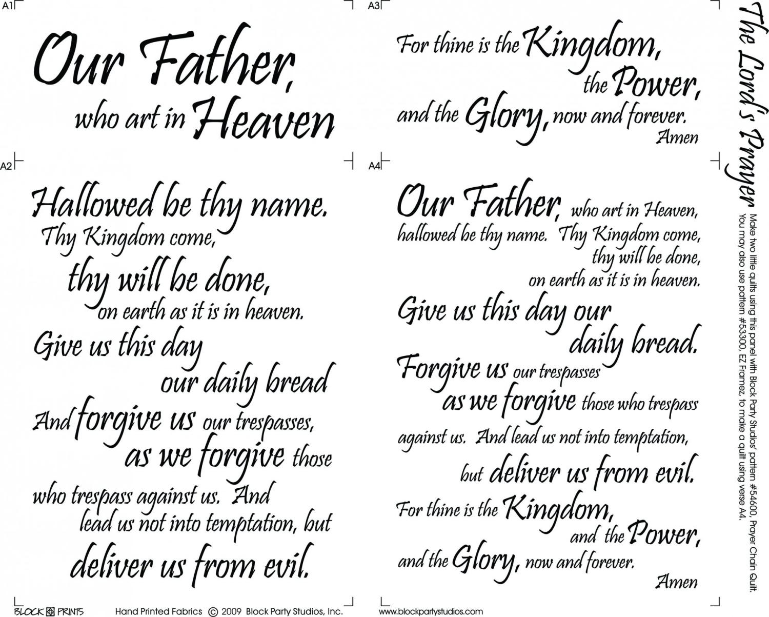 The Lord's Prayer panel cream by Block Party Studios (664-BN)