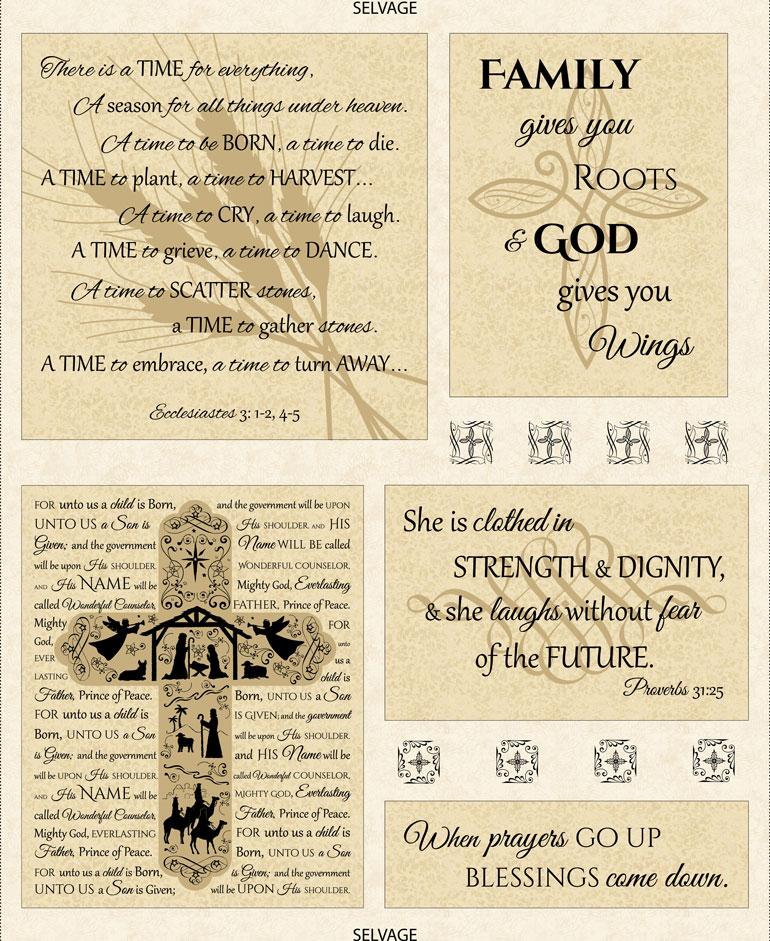 Abundant Life Panel by Timeless Treasures (C6061-Latte)