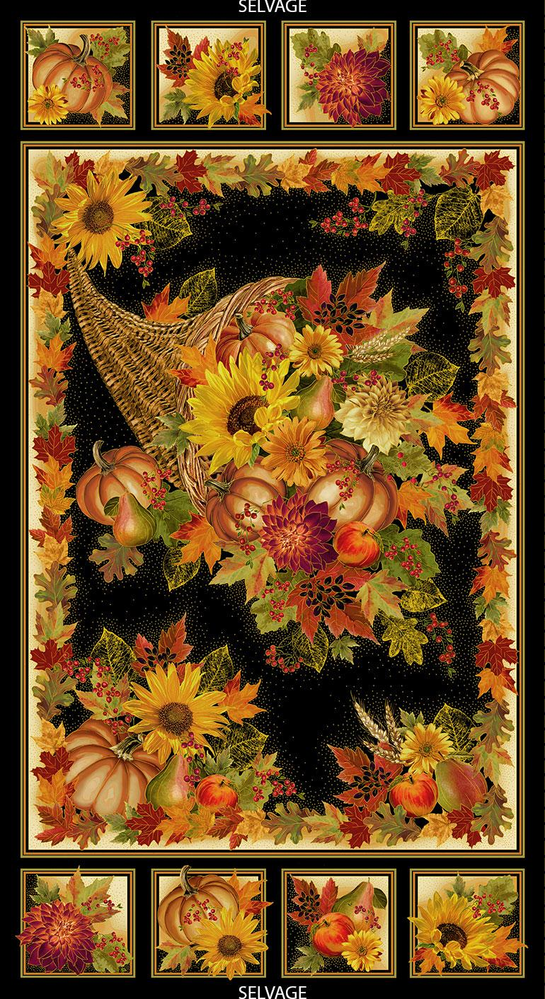 Harvest Panel by Timeless Treasures (CM6135-Black)