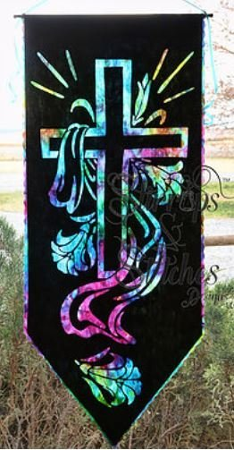 He Is Risen Laser CrossReverse applique cross