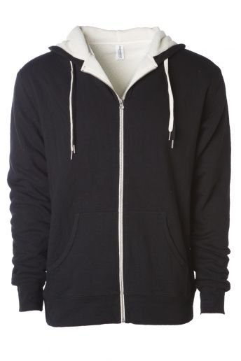 EXP90SHZ Independent Trading Co. Heavyweight Sherpa Lined Zip Hood