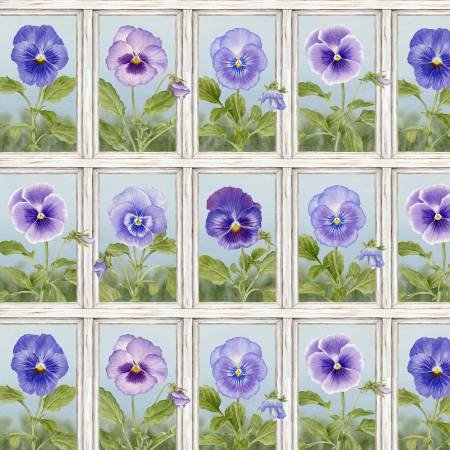 Henry Glass - Pretty as a Pansy-Window Box-White/Light Blue - 1008-01