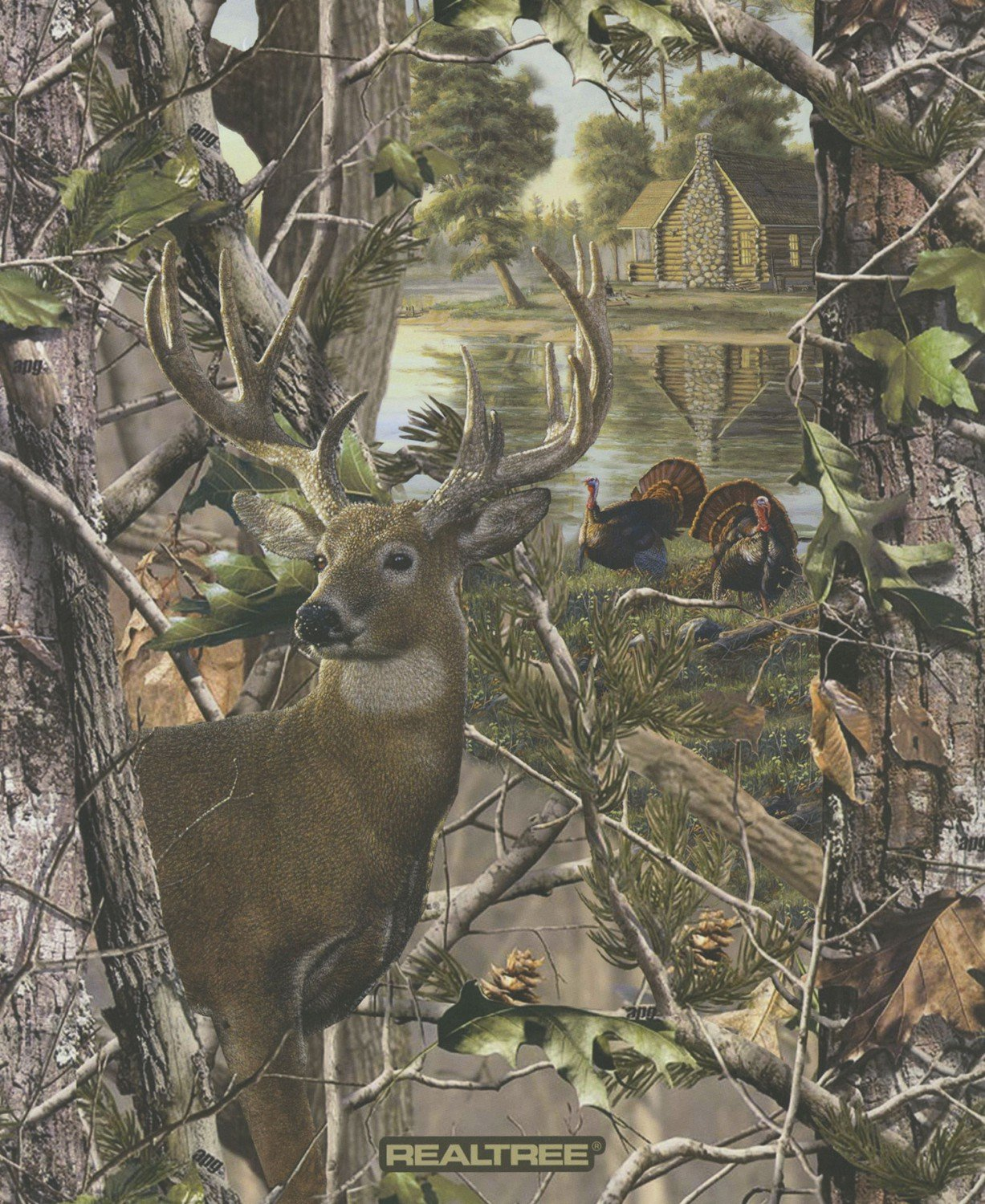 Print Concepts - Real Tree-Panel/Deer&Turkey (A-29) - 10149