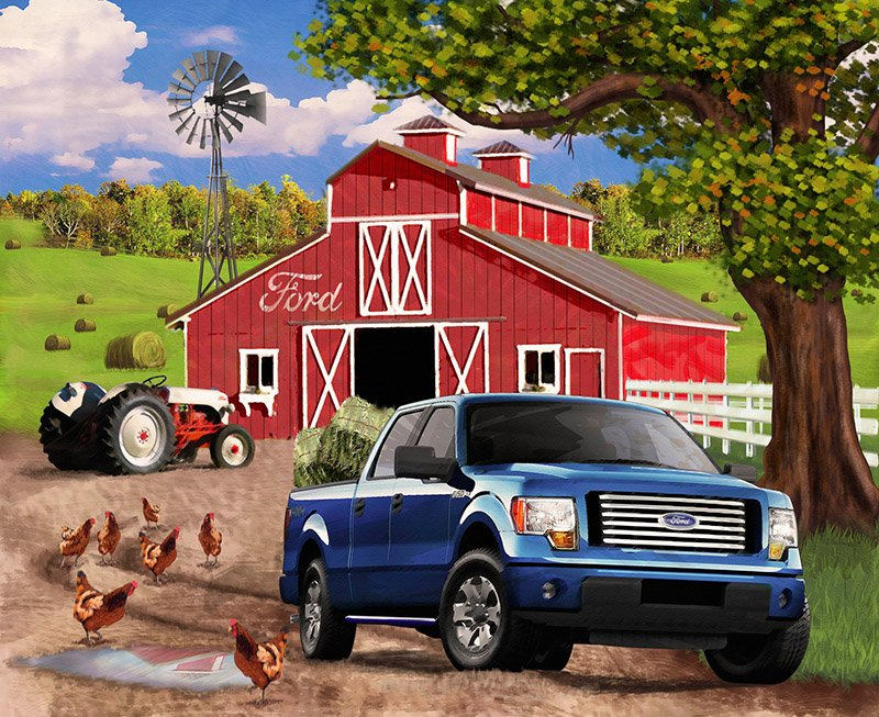 Print Concepts - Ford F-150 Barn Scenic-Panel - 1102 - 13N