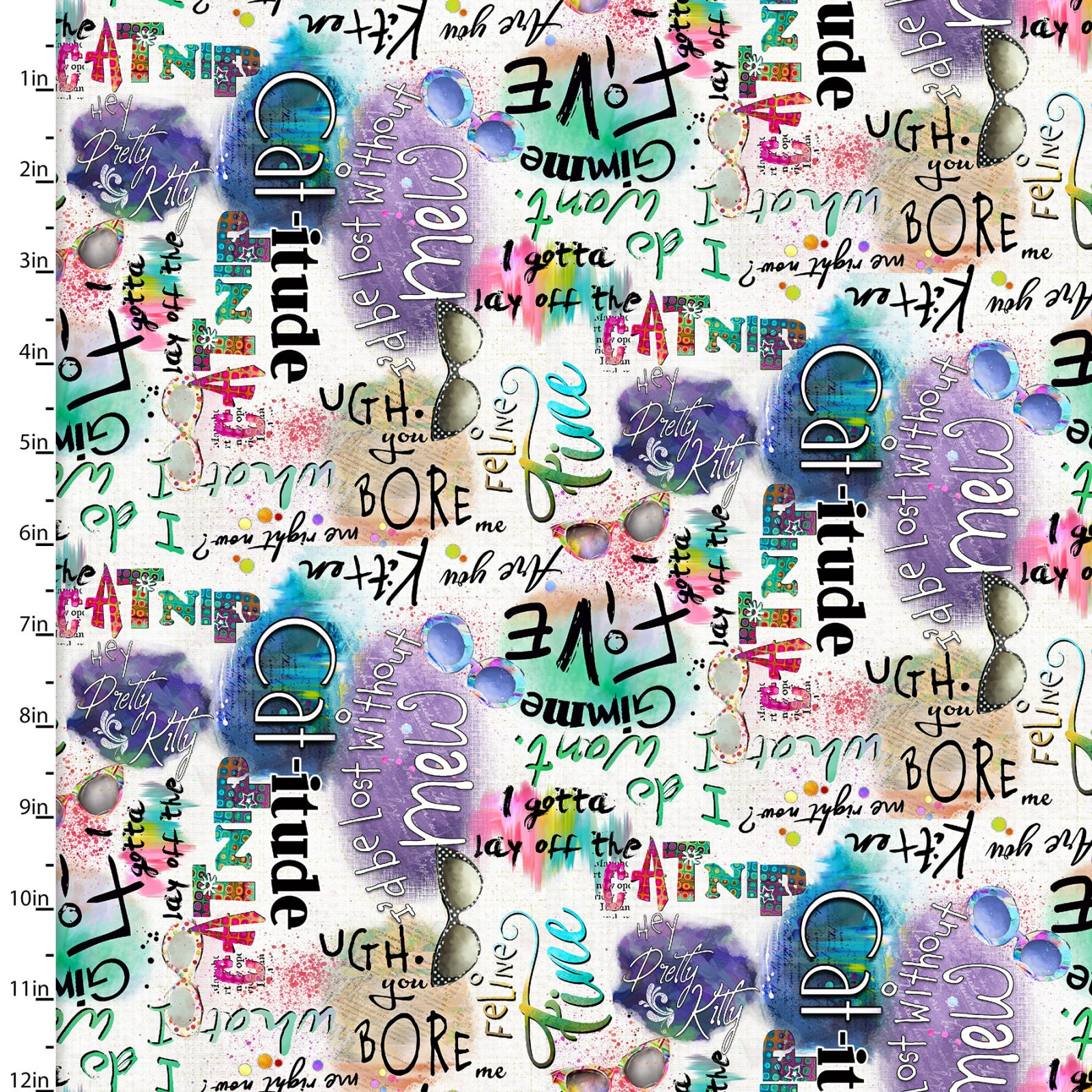 3 Wishes Fabric - Good Kitty-Words/White -16547-Words
