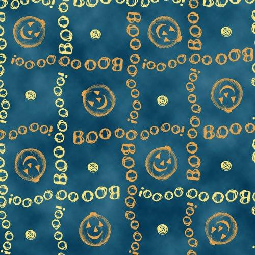 QT - Charmed-Pumpkin/BOO Plaid -DK Blue - 23885-B