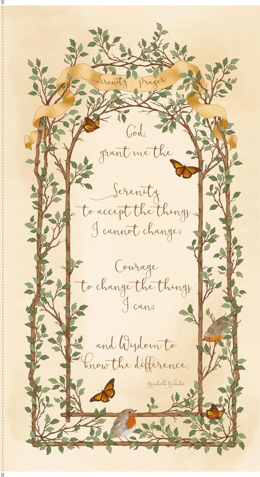 QT - Serenity Prayer Panel/Cream - 25824-E (I-13)