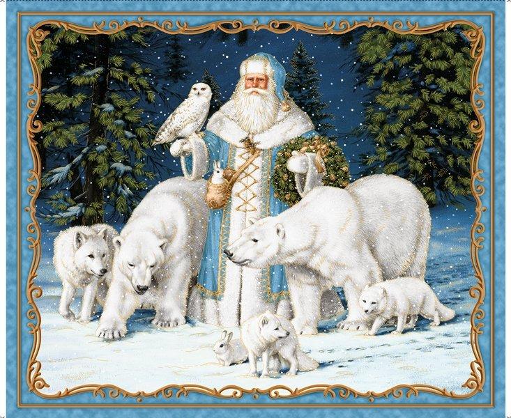 QT - All Is Calm-Arctic Santa Panel/Blue - 25871-B - C20