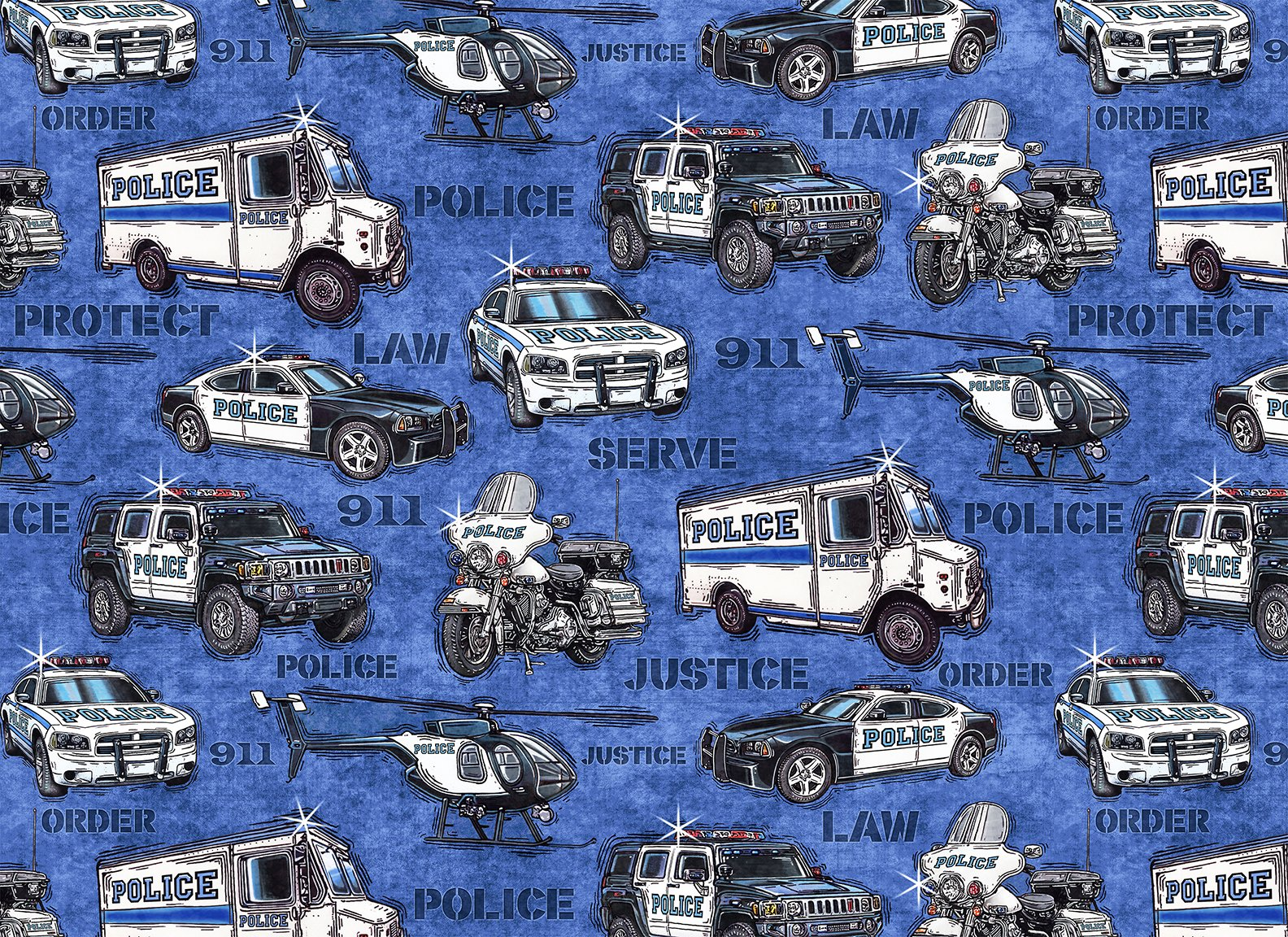 QT - Protect & Serve-Police Vehicles/Blue - 26127-B
