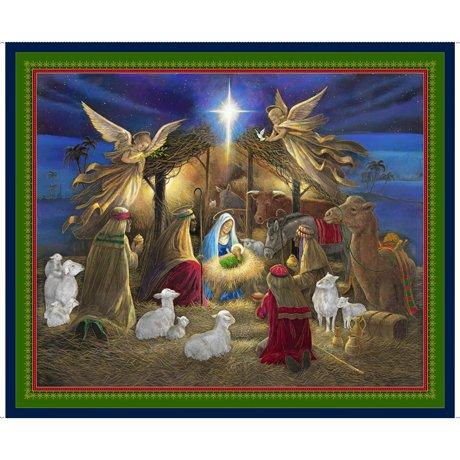 QT - Holy Night NATIVITY PANEL NAVY - 27251-N  -  C-8