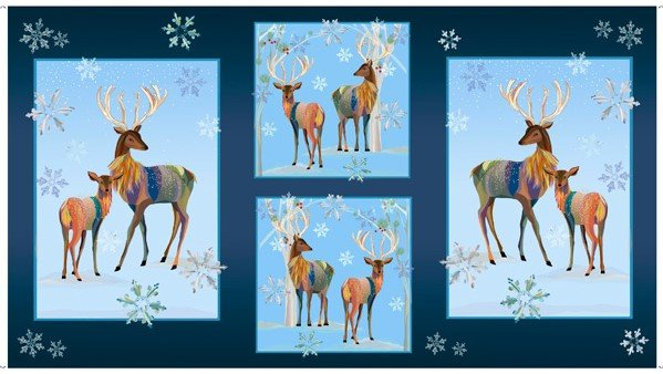 First Frost - Deer DEER PATCHES PANEL/NAVY - 27435-N  - C14