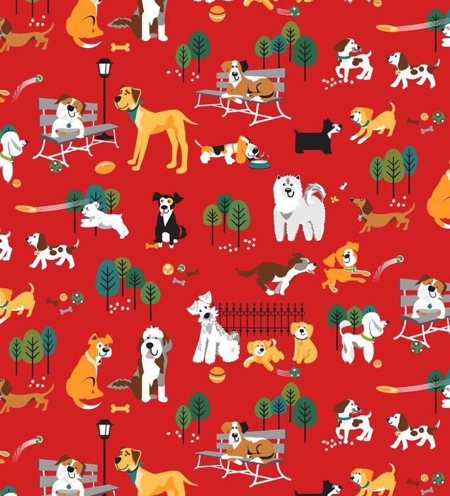 StudioE - Dog Park-Tossed Dogs/Red - 2931-88