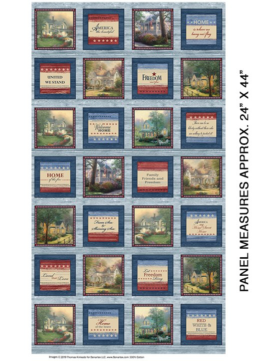 Benartex - Hometown Patch-Sea Blue-Thomas Kinkade - 4029-52